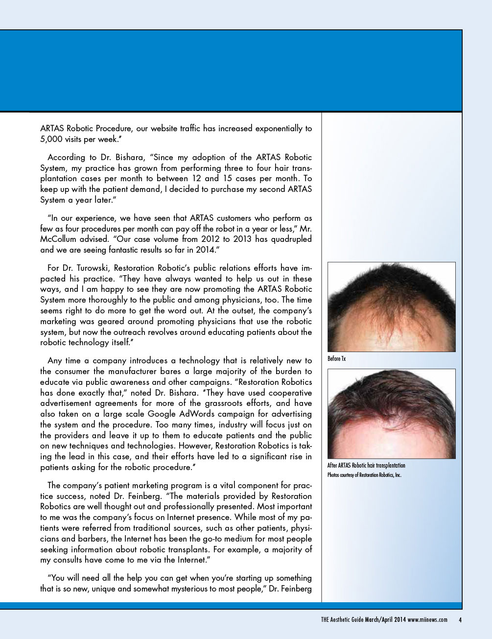 ARTAS Hair Studio and ARTAS Robotic System Signal a Paradigm Shift in Hair Restoration TAG March April 2014 4