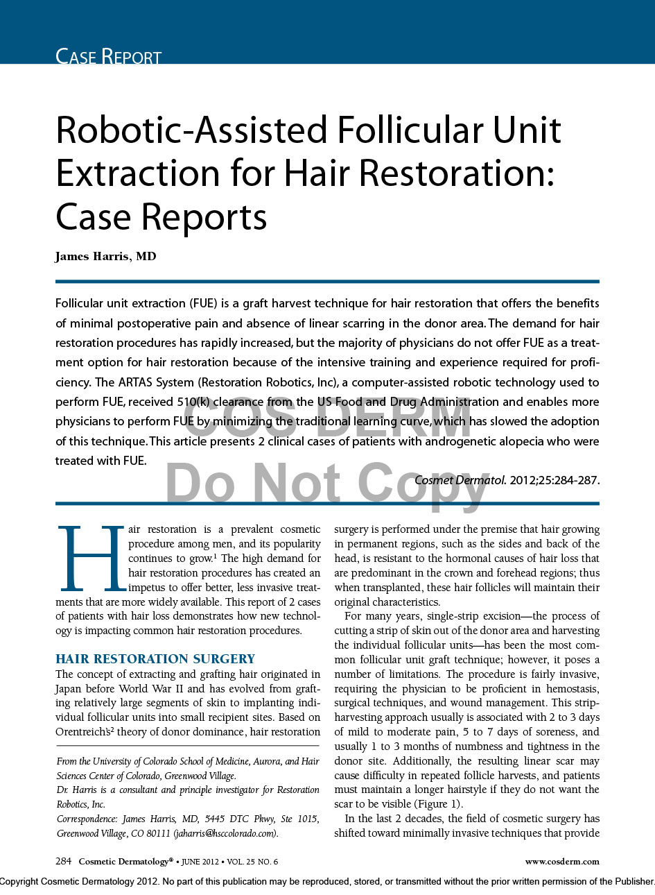 Dr. Jim Harris Case Report Cosmetic Dermatology June 2012 1