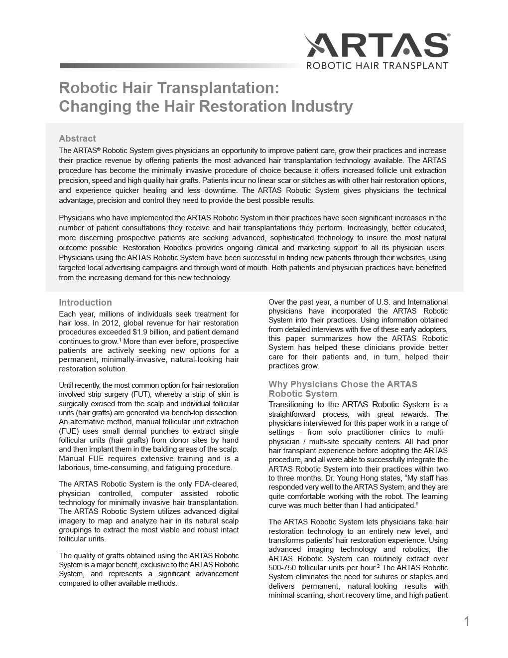 Robotic Hair Transplantation Changing the Hair Restoration Industry 2013 1